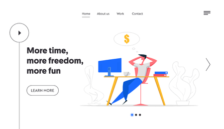 Finance Business Big Dreams Website Concept. Relax Businessman Character Sitting with Computer Dreaming About Money and Passive Income. Manager Office Workspace Banner Landing Page. Vector Flat illustration