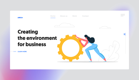 Business Strategy, Technology Innovation Web Banner Concept. Businesswoman Character Pushing Giant Cogwheel. Gear as a Metaphor of Growth and Progress Website Landing Page. Cartoon Vector illustration