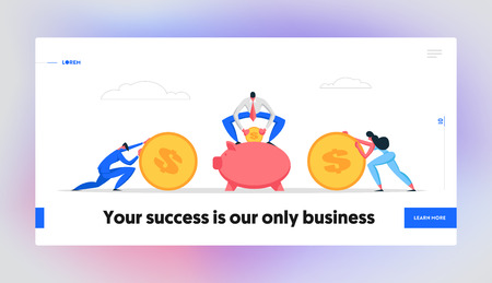 Money Saving Concept Banner with Business People Characters and Piggy Bank. Financial Savings Profit, Investment Salary, Deposit with Businessman Accumulate Coins in Moneybox Website Landing Page. Vector Flat illustration Illustration
