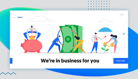Money Saving Concept Banner with Business People Characters, Piggy Bank and Money Tree. Financial Savings Profit, Salary Investment, Deposit with Businessman Coins in Moneybox Website Landing Page. Vector Flat illustration