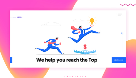 Business Risk Management Creative Idea Banner Concept with Businessman Running Jumping Over Trap. Business Competition Character Challenge with Light Bulb Website Landing Page. Flat Vector Cartoon Illustration