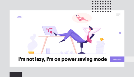 Online Technical Support 247 Service Banner. Hotline Lazy Operator Character Relaxing at Workplace Dreaming about Vacation. Customer Service Call Center Concept. Male Assistant Takes a Break while Working Landing Page. Vector cartoon illustration