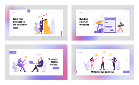 Web Software Development Concept Banner. Characters Partnership Meeting. Man and Woman Programmer Coding Mobile App Landing Page. Rich Businessman with Stack of Money. Vector flat cartoon illustration