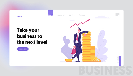 Successful Business Character with Money Cash Landing Page. Financial Profit Salary Wealth Concept. Rich Businessman Making Savings Increasing Capital Banner Website. Vector flat cartoon illustration Иллюстрация