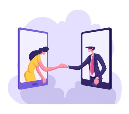 Business Partners Handshaking Through Smartphone Screens. Partnership Cooperation Concept with Businessmen Character Handshake Agreement. Vector flat cartoon illustration