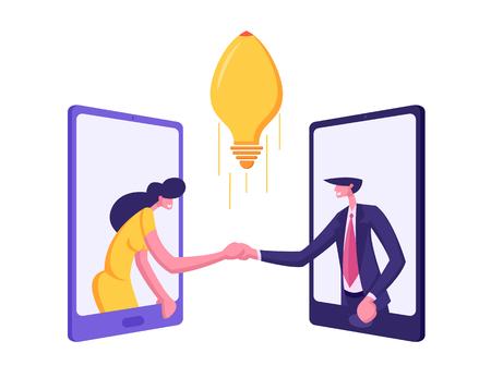 Business Partners Handshaking Through Smartphone Screens. Partnership Cooperation Concept with Businessmen Character Handshake Agreement Creative Idea. Vector flat cartoon illustration 일러스트