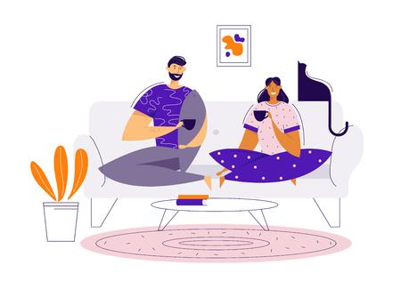Glückliches Paar, das zu Hause Kaffee auf dem Sofa trinkt. Mann- und Frauencharaktere, die zu Mittag essen. Romantische Dating-Zeit zusammen. Vektor-flache Cartoon-Illustration