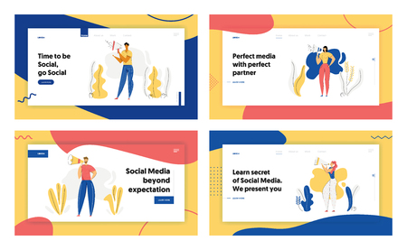 People with Megaphone Advertising Concept Banner. Male Character Promoting with Loudspeaker. Social Media Advertisement Marketing Sale Campaign Landing Page Website. Vector flat cartoon illustration Иллюстрация