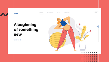 Pregnant Woman in Yoga Position Banner. Young Pregnancy Mother Exercises Aerobics. Sport Healthy Lifestyle Maternity Concept. Pregnant Girl with Belly Training Landing Page, Website. Vector flat cartoon illustration Иллюстрация