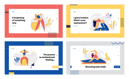 Pregnant Woman in Yoga Position Landing Page Set. Young Pregnancy Mother Exercises Aerobics. Sport Healthy Lifestyle Maternity Concept. Pregnant Girl with Belly Training Banner, Website. Vector flat cartoon illustration Иллюстрация