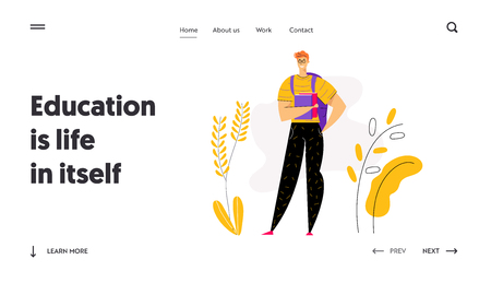 Happy Young Male Student Character with Books Landing Page. Educational Concept with Man with Backpack and Textbook Learning and Reading Banner, Website, Web Page. Vector flat cartoon illustration