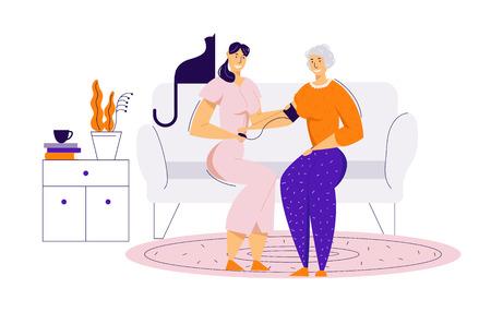 Enfermera cuidando a una anciana, midiendo la presión arterial. Concepto de atención médica de tratamiento médico con personaje femenino senior y médico. Ilustración de dibujos animados plano de vector