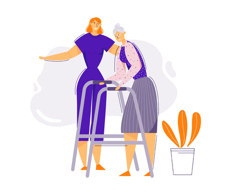 Aiuto e cura degli anziani concetto. Il personaggio femminile aiuta la donna anziana a camminare. Paziente anziano e infermiere. Terapia del pensionato. Illustrazione del fumetto piatto vettoriale Vettoriali