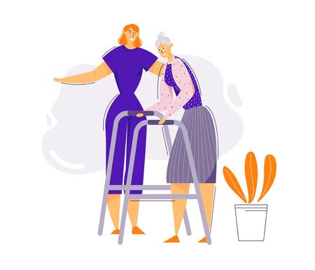 Concepto de ayuda y cuidado de personas mayores. Personaje femenino ayuda a anciana a caminar. Enfermera y paciente senior. Terapia de pensionistas. Ilustración de dibujos animados plano de vector Ilustración de vector