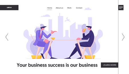 Business People Conversation Concept Banner. Businessmen Discussing Company Strategy at Office Table. Coffee Break, Job Interview. Boss and Employee with Creative Idea Light Bulb Landing Page Website. Vector flat illustration