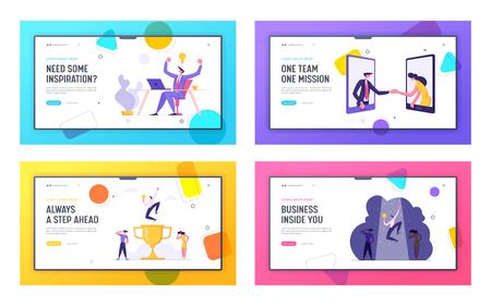 Business Partnership Cooperation Landing Page Set. Man and Woman Handshaking Through Smartphone. Hiring Concept Successful Teamwork Banner, Website. Vector flat illustration Ilustração