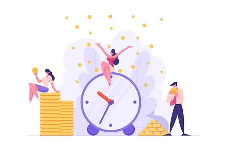 Money Time Concept with Alarm Clock and Business People Characters Celebrating Financial Income. Business Development Money Saving with Businessmen. Vector flat cartoon illustration Vectores