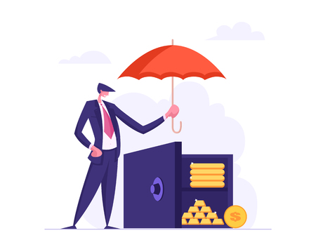 Money Insurance Concept with Businessman Holding Umbrella Under Bank Deposit Box. Money Protection Financial Savings, Secure Investment. Vector flat cartoon illustration Ilustrace