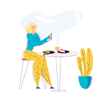Young Woman Taking Photo of Food with Cell Phone. Female Blogger Character Photographing Lunch in Cafe. Girl Making Selfie in Restaurant. Vector flat cartoon illustration