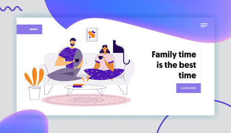 Happy Couple Drinking Coffee on Sofa at Home Landing Page Template. Man and Woman Characters Having Lunch. Romantic Dating Time Together Banner Website. Vector flat cartoon illustration