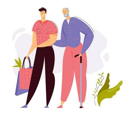 Joven ayuda a los ancianos mayores con las compras. Trabajador social con carácter de anciano. Asistencia sanitaria de concepto de ancianos. Ilustración de dibujos animados plano de vector