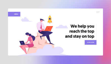 Businessmen Team with Laptop Working on Top of Mountain Landing Page. Developer Launch Rocket Start Up on the Peak. Freelancer Project Manager Character Concept Banner Website. Vector flat illustration