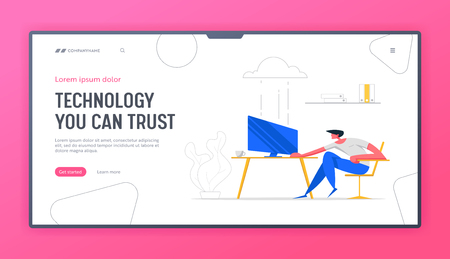 Cloud Computing Technologies Concept Banner. Man Character Working with Computer Using Wireless Connection Service. Media File Storage Backup Landing Page Website. Vector illustration