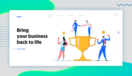 Business Team Success Concept with Characters and Cup Landing Page. Teamwork Achievement, Victory Celebration, Partnership Man and Woman Celebrating with Trophy Banner Website. Vector flat illustration Illustration
