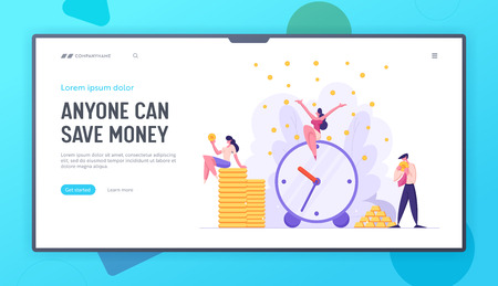 Money Time Concept Landing Page with Alarm Clock and Business People Characters Celebrating Financial Income. Business Development Money Saving with Businessmen Website Banner. Vector flat cartoon illustration Vector Illustratie