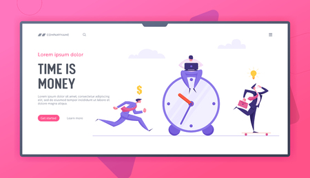 Business Deadline Time Management Landing Page Template Concept with Businessmen and Alarm Clock. Office Workers Running to Work. Planning and Strategy Solution Banner. Vector flat cartoon illustration