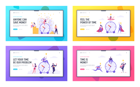 Money Time Concept with Alarm Clock and Business People Landing Page Characters Celebrating Financial Income. Business Development Money Saving with Businessmen Website Banner. Vector flat cartoon illustration