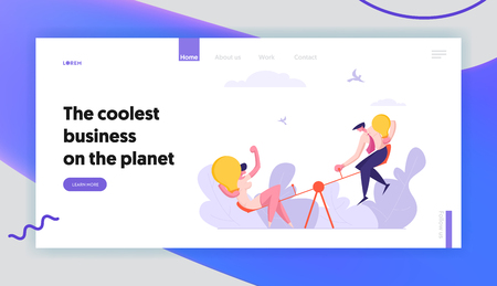 Business Competition Landing Page Concept with Man and Woman Characters with Light Bulb. Business Challenge Opportunity. Businesswoman Celebrating Victory Web Page Banner. Vector flat illustration