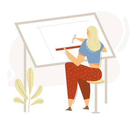Architect Female Character Working on Blueprint. Building Construction Architects Designing Concept with Woman Drawing Engineering Sketch. Vector flat cartoon illustration
