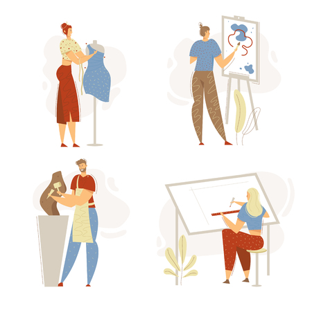 Smiling Man Sculptor Working in Studio. Woman Character with Fashion Designer. Guy Painting with Brush. Architect Engineering. Vector flat cartoon illustration