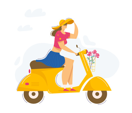 Young Beautiful Woman Riding Scooter. Smiling Female Character Driving Motorbike. Urban Transportation. Vector flat cartoon illustration