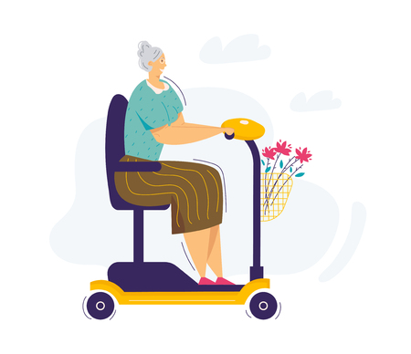 Old Woman Riding Scooter. Senior Female Character Rides on Electric Wheelchair. Grandmother Elderly Woman Driving Scooter. Vector flat illustration