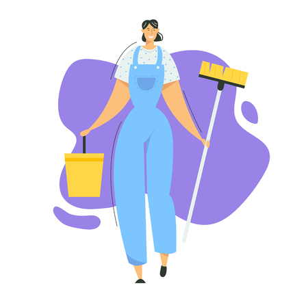 Woman Cleaner Character with Mop and Bucket. Cleaning Service with Female Staff with Equipment. Housewife Washing Home, Janitor Worker. Vector flat illustration