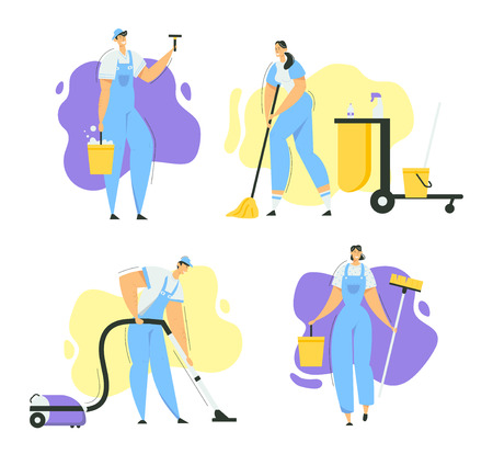 Cleaner Characters with Mop, Vacuum Cleaner and Tools. Cleaning Service with Staff with Equipment. Housewife Washing Home, Janitor Worker. Vector flat illustration