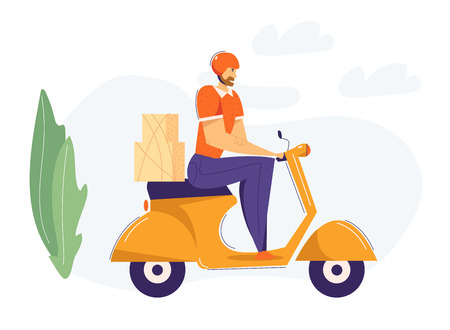 Delivery Man Riding Scooter with Package. Fast Delivery Shipping Service Concept with Male Character on Motorbike. Vector flat cartoon illustration Stock Illustratie