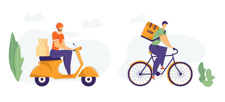 Delivery Man Riding Scooter with Package. Fast Delivery Shipping Service Concept with Male Character on Motorbike. Guy Delivering Food on Bicycle. Vector flat cartoon illustration
