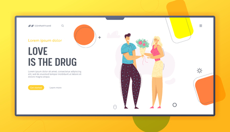 Happy Couple Dating Landing Page Template. Male Character Giving Bouquet of Flowers to his Girlfriend. Man Proposing Love to Young Beautiful Woman Website Banner. Vector flat cartoon illustration