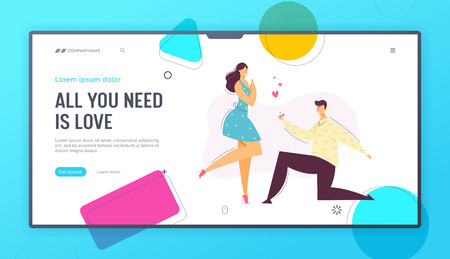 Happy Couple in Love. Man makes Marriage Proposal to Girlfriend Landing Page Template. Groom Gives Engagement Ring to the Bride Kneel Website Banner. Vector flat cartoon illustration