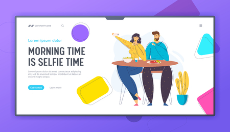 Young Couple Taking Photo Selfie with Food on Cell Phone Landing Page. Female Blogger Character Photographing Lunch in Cafe. Man and Woman in Restaurant Website Banner. Vector flat cartoon illustration Illustration