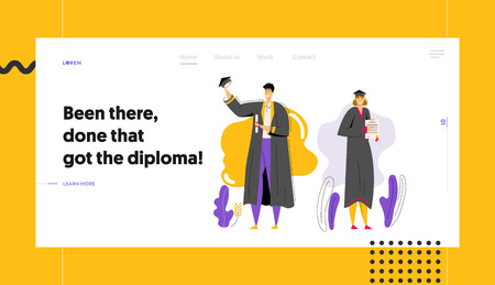 Graduating Students with Diploma Website Template. Man and Woman Characters Graduation Education Concept. University Student College Graduate Landing Page Banner. Vector flat cartoon illustration