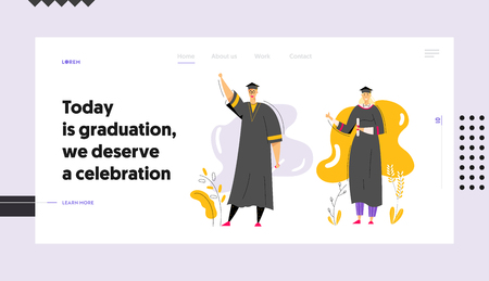Graduating Students with Diploma Banner Template. Man and Woman Characters Graduation Education Concept. University Student College Graduate Landing Page. Vector flat cartoon illustration