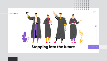 Group of Graduating Students with Diploma Landing Page. Man and Woman Characters Graduation Education Concept. University Student College Graduate Website Banner. Vector flat cartoon illustration