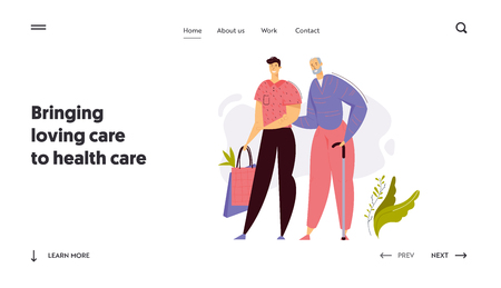 Young Man Helps Elder Senior with Shopping Landing Page. Social Worker with Old Man Character. Elderly Concept Health Care Assistance Website Banner Template. Vector flat cartoon illustration