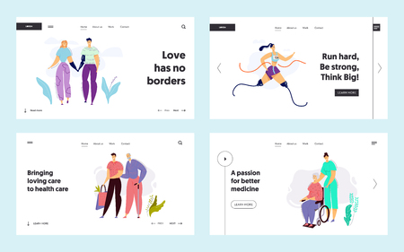 Disabled People Characters with Prosthesis Landing Page Template. Elderly People in Nursing Home with Nurse. Caring for Senior Patient in Clinic Website Banner. Vector flat illustration