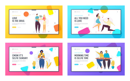 Happy Couple Relations Concept Landing Page Template. Marriage Proposal. Man and Woman Characters in Cafe Taking Photo of Food, Making Selfie Website Banner. Vector flat illustration Illustration