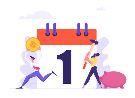Monthly Loan Payment Concept. People Characters Pay the Bills Every Month Calendar. Financial Schedule with Money and Businessmen. Vector flat illustration